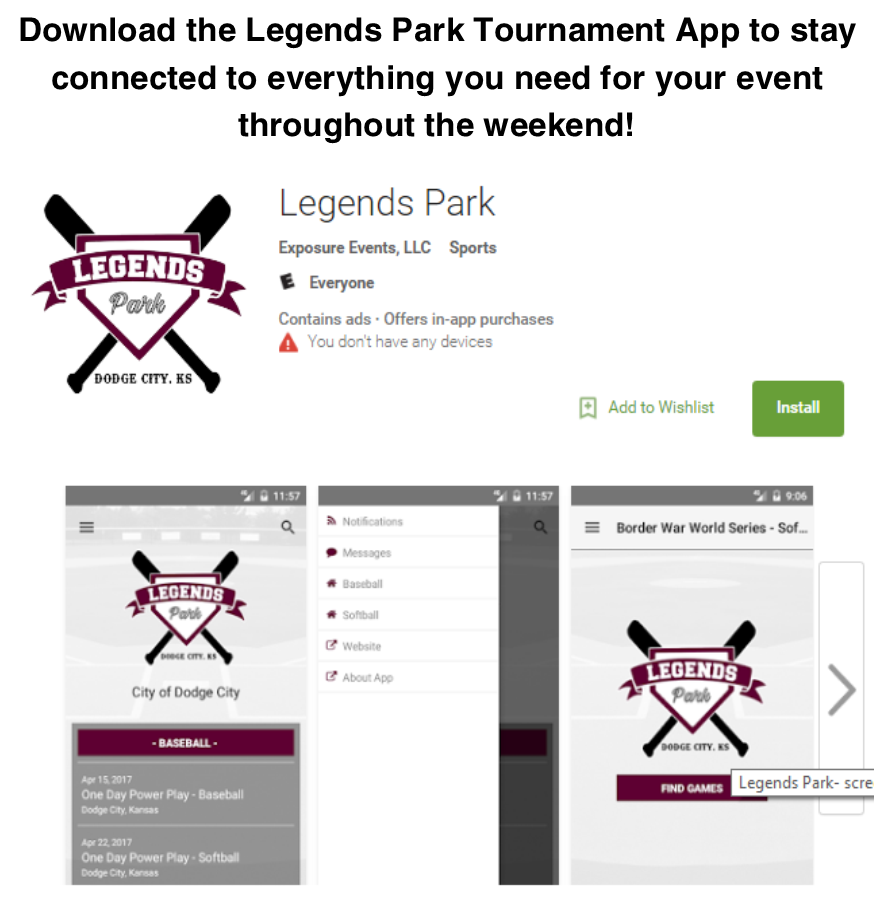 Download the Legends Park Tournament App