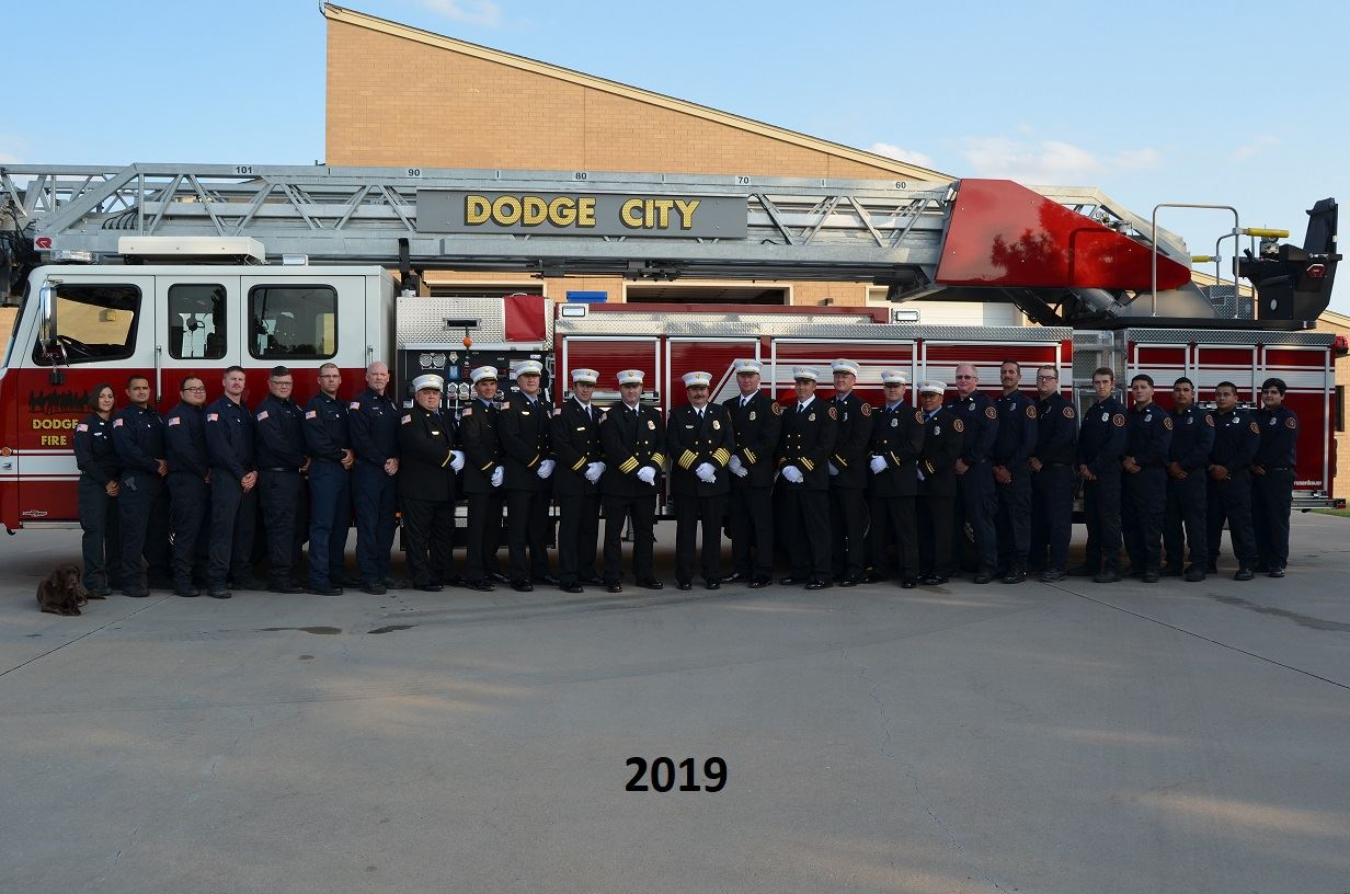 2019 Fire Department Staff standing in front of the fire apparatus