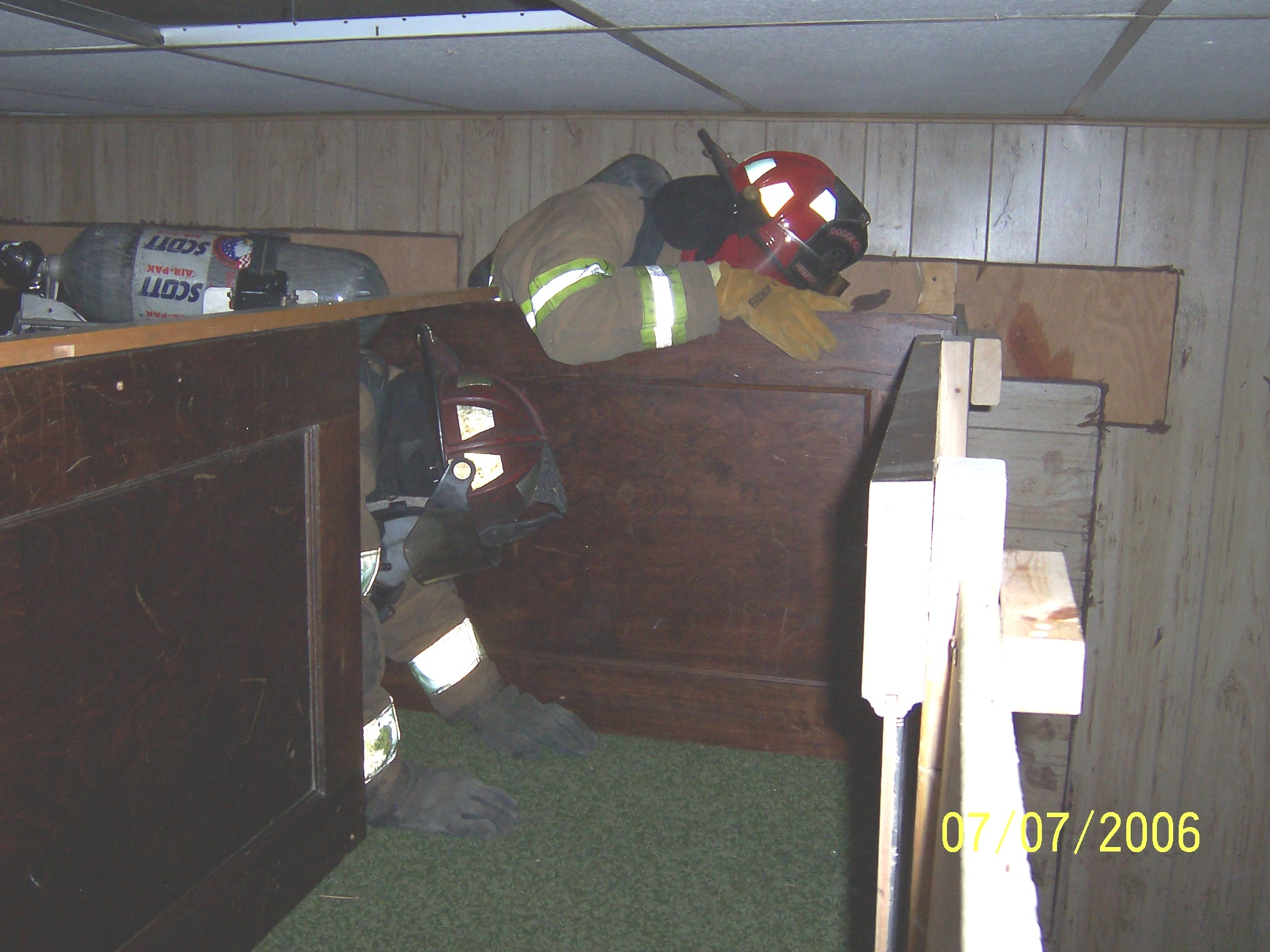 Firefighters training in the departments maze